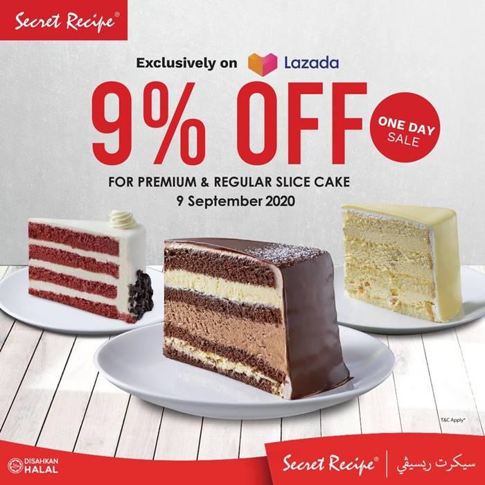 Tawaran 9.9 Secret Recipe Diskaun 9% Untuk Kek